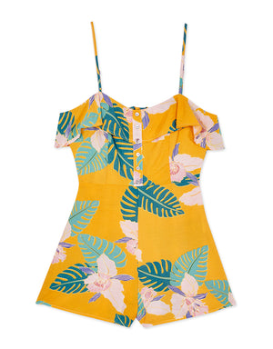 Tropical Print Button Up Playsuit