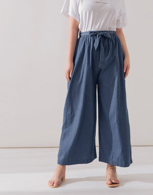 Loose Tie Up Wide-Leg Pants