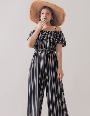 Striped Ruffle Cold Shoulder Jumpsuit