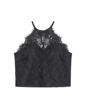 Eyelash Lace Halter Crop Top