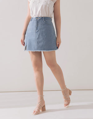 Frayed A-Line Denim Skirt