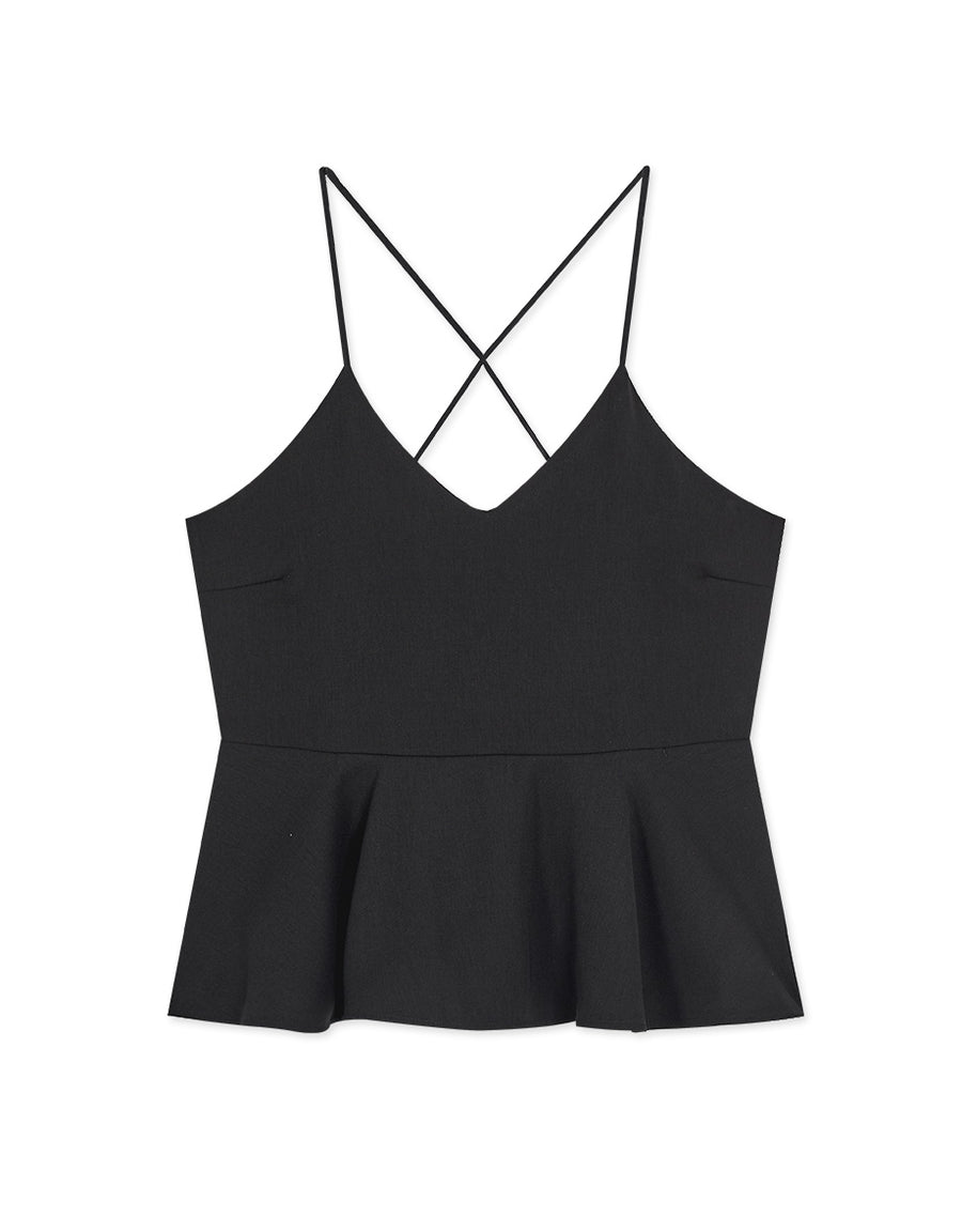 Thin Strap Peplum Top