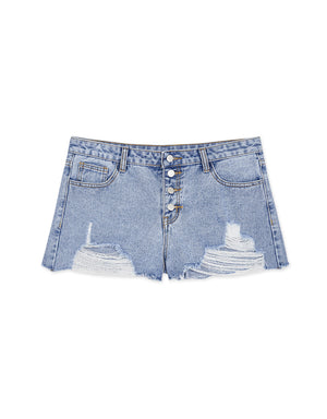 Ripped Button Up Denim Shorts