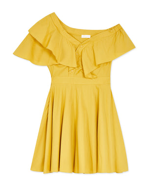 Asymmetrical Ruffle Button Up Flare Dress