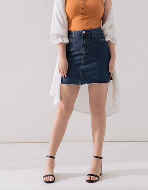 Skinny Denim A-Line Skirt