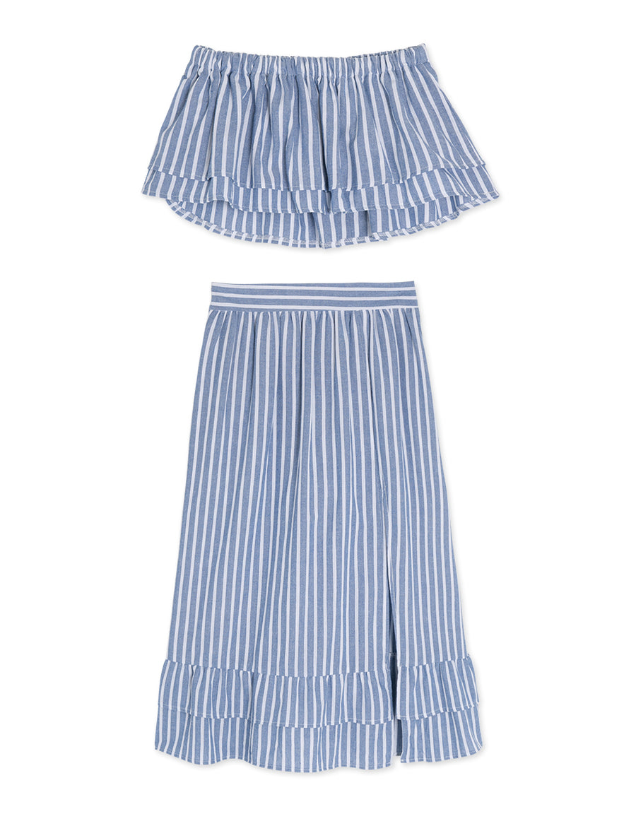 Stripe Flounce Tube Set Wear