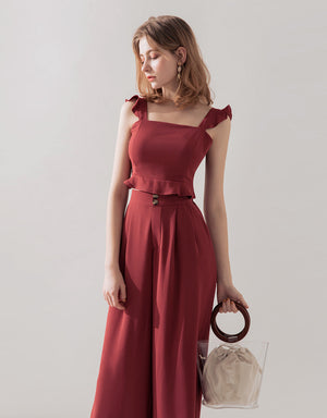 Ruffle Strap Chiffon Sleeveless Set Wear