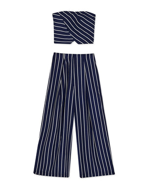 Striped Tube Wide Leg Pants Set Wear