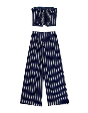 Striped Tube Wide-Leg Pants Set Wear