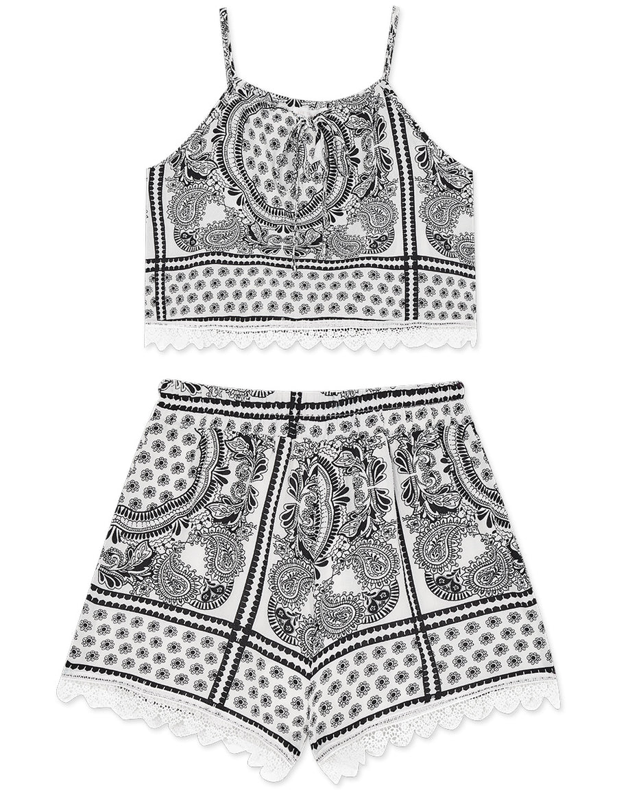 Tropical Print Lace Trim Set Wear