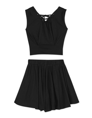 V Neck Lace Up Sleeveless Set Wear