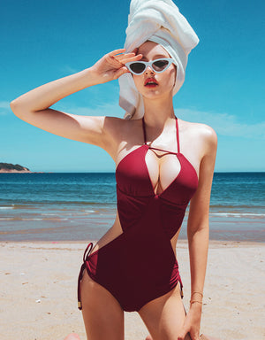 (XL,2L) 3Way Plain Double Ribbon One-Piece Bikini