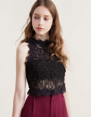 Lace See Through Sleeveless Top
