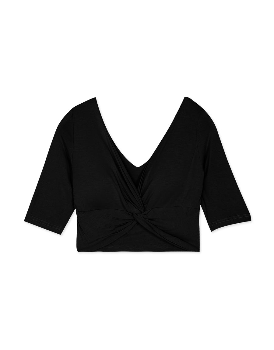 Deep V Twist Front Elbow Length Sleeve Top (with Padding)