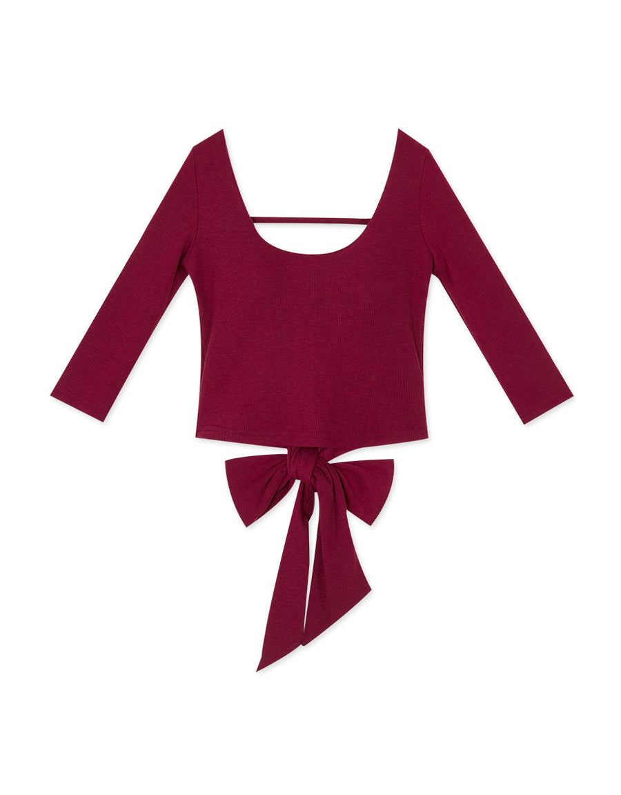 Hollow Back Ribboned 3/4 Sleeve Top (with Padding)