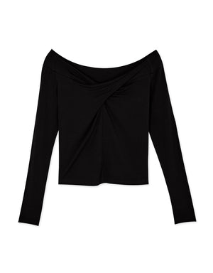Twist Front Off-Shoulder Long-Sleeve Top
