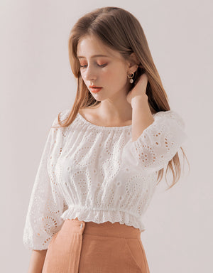 2Way Broderie 3/4 Sleeve Top