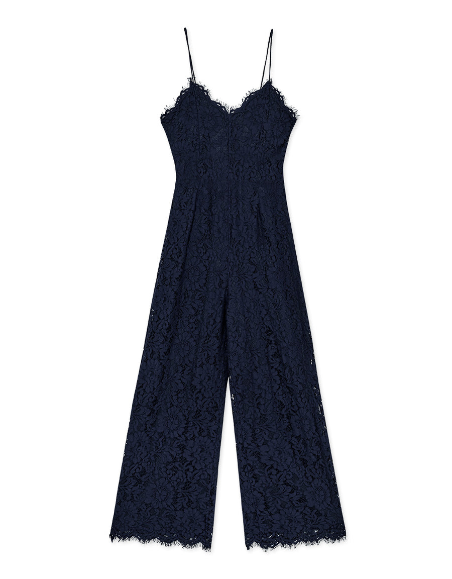 Open Back Eyelash Lace Cami Jumpsuit