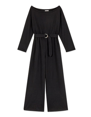 2Way Long-Sleeve Sweater Belted Jumpsuit