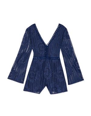 Wide Sleeve V-Neck Broderie Lace Playsuit