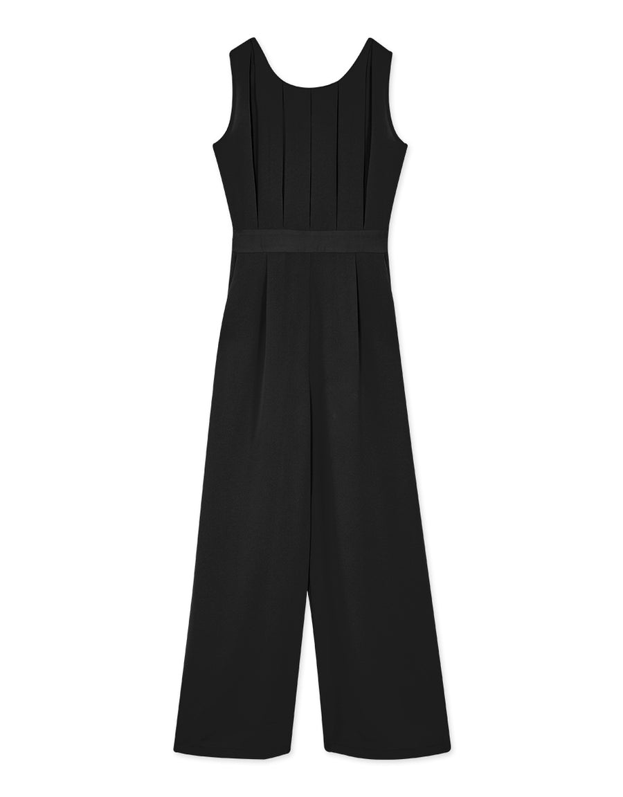 Front Creased Round Neck Sleeveless Tank Jumpsuit
