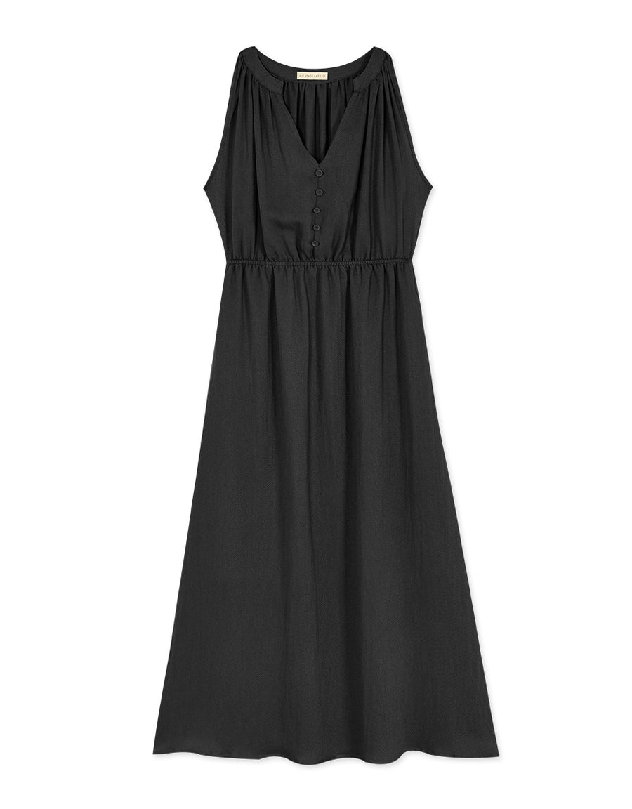 V-Neck Buttoned Sleeveless Dress