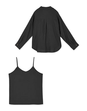 Front And Rear V-Neck Camisole Shirt Set