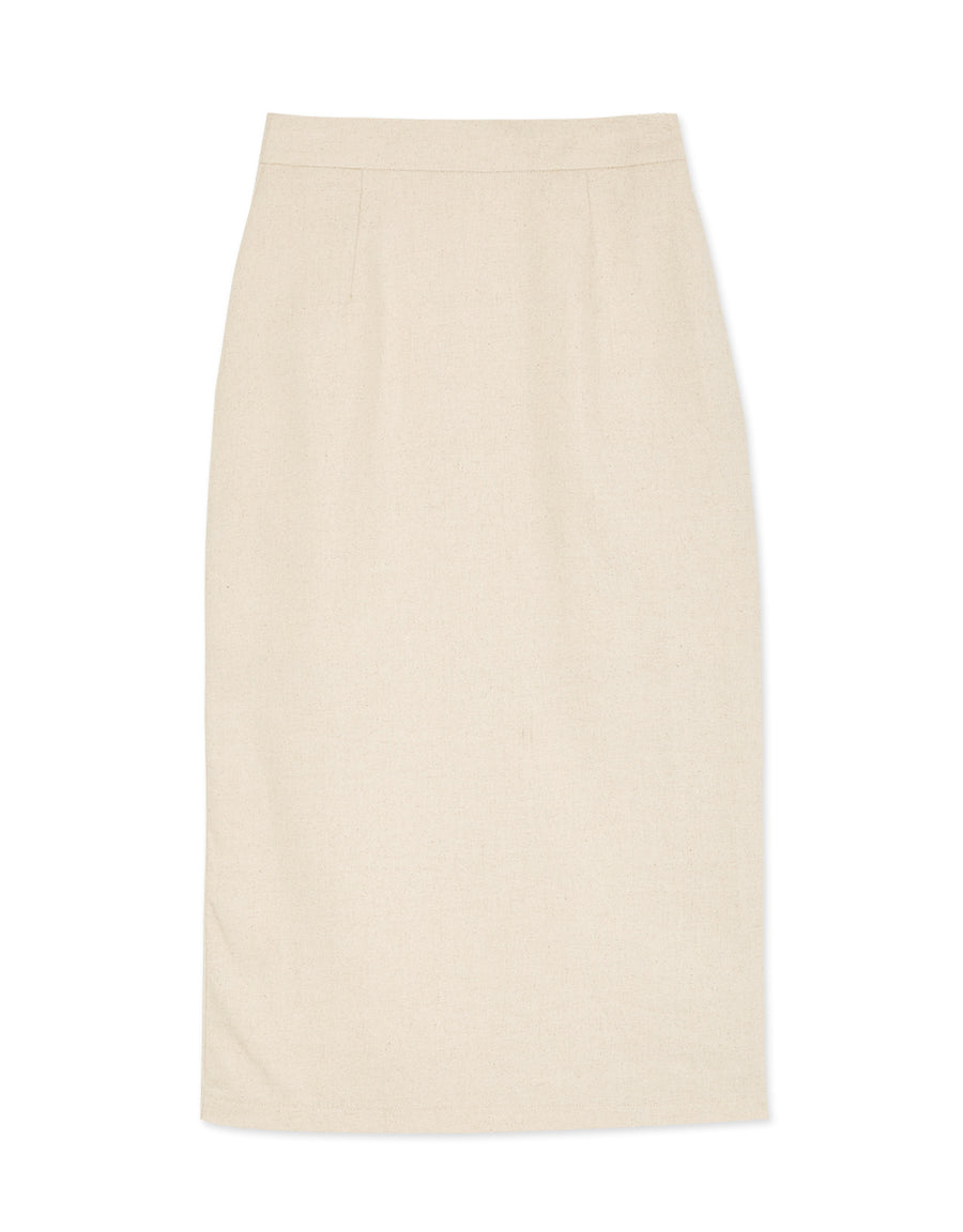 Back Slit Linen Midi Skirt