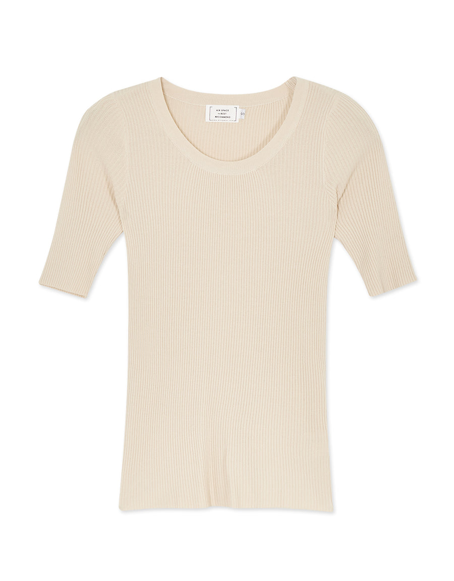 Classic Ribbed Round Neck Top