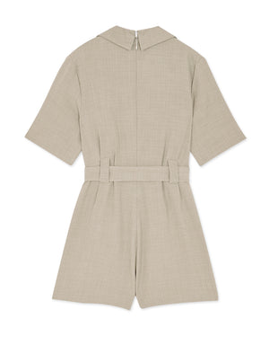 Double Breasted Short-sleeve Belted Playsuit