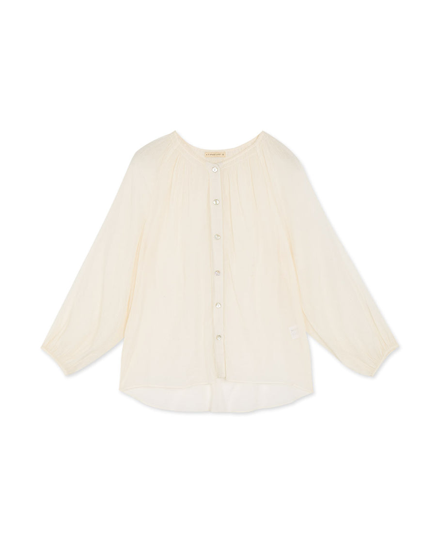 Transparent Buttoned Long-Sleeve Top