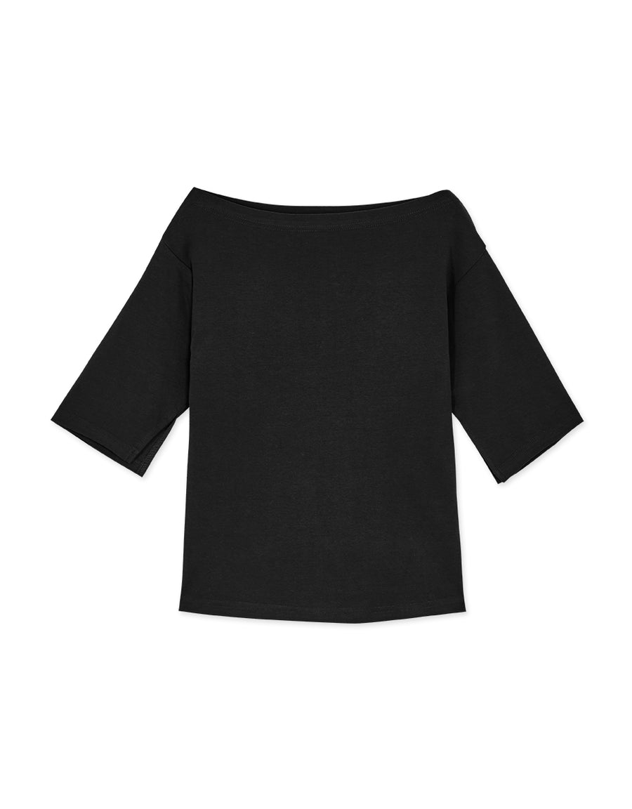 Wide Neck 3/4 Sleeve Top