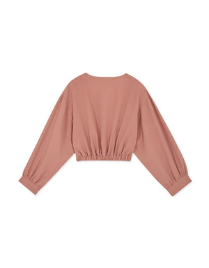 Elegant V-Neck Buttoned Elastic Waist Crop Top