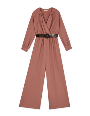 Textured Wrap Belted Jumpsuit
