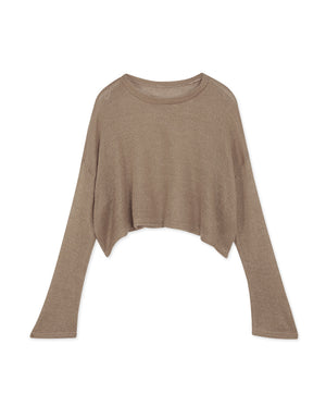 Round Neck Transparent Knit Top