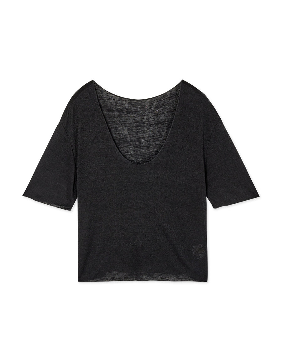 Soft Material Large Collar Short-Sleeved Top