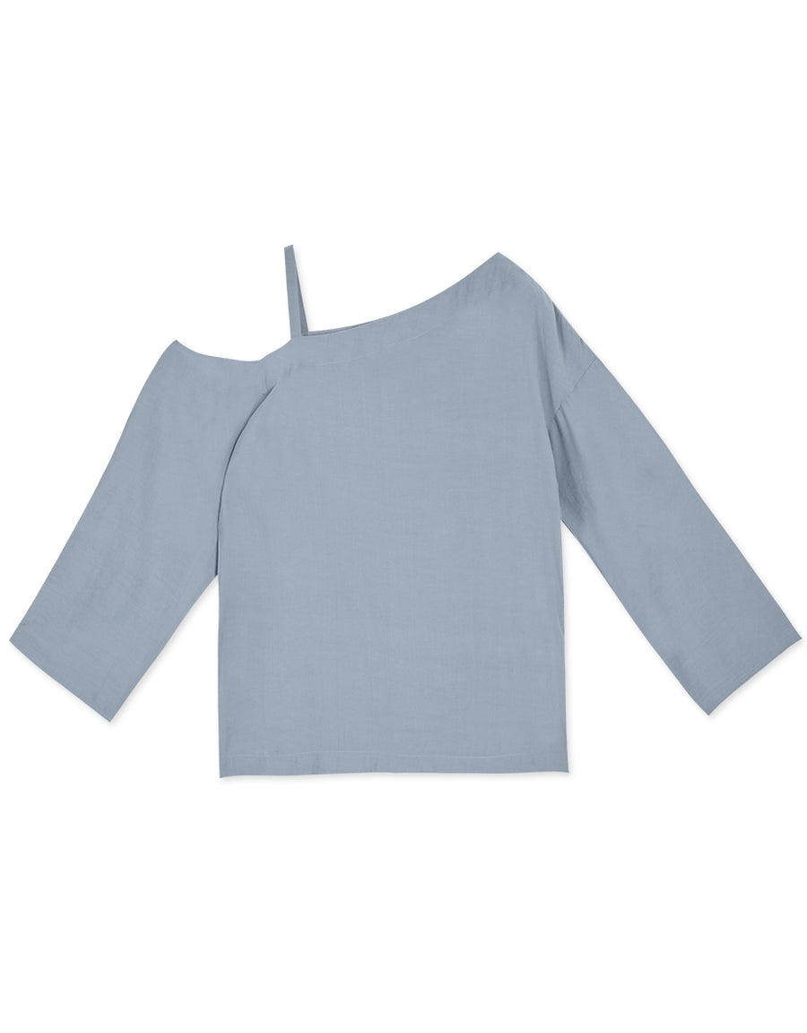 Plain Single Cold Shoulder Long-Sleeve Top