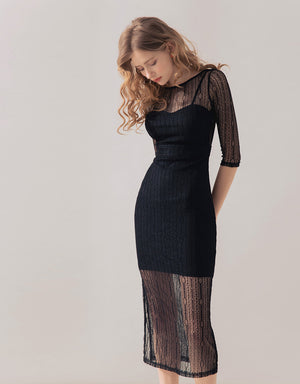 Lace Mesh Midi Slit Dress