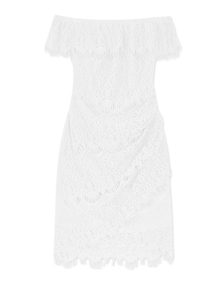 Eyelash Lace Off Shoulder Dress