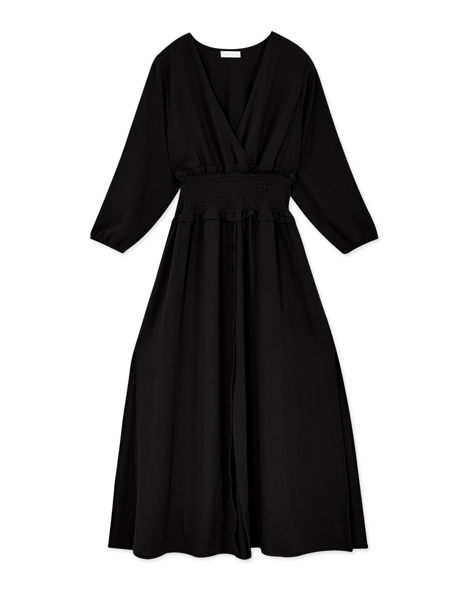 V-Neck Scrunch Waist Slit Chiffon Dress
