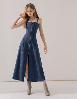 Thin Strap Distressed Hem Denim Dress