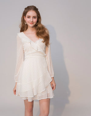 Swiss Dot Chiffon Ruffle Dress