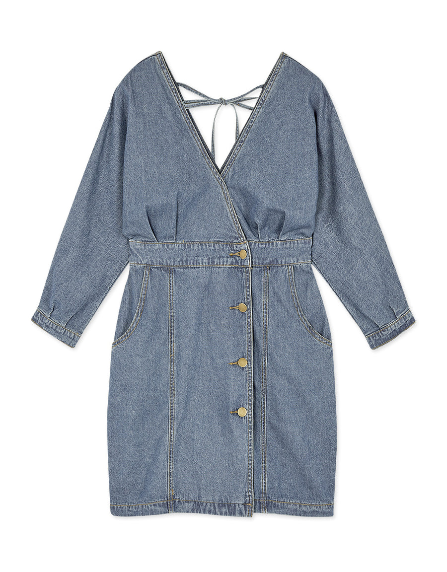 Overlap Buttoned Denim Dress