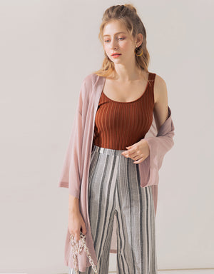 Sheer Wide Sleeve Long Cardigan