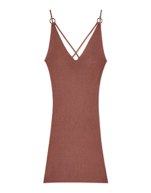 Front Cross-Ribbed Fit Cut Cami Dress