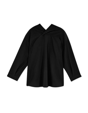 Front And Rear V-Neck Buttoned Long-Sleeved Top