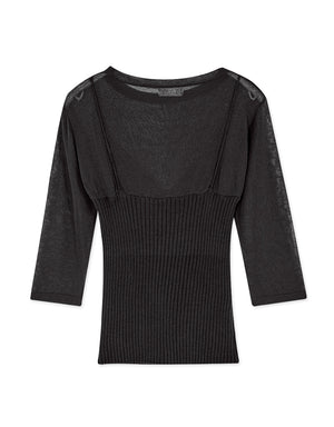Knitted Cami Splice Sheer Long Sleeve Top