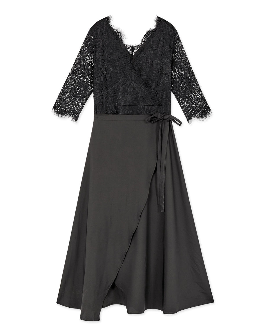 3/4 Sleeve Lash Lace Splice Knotted Maxi Dress