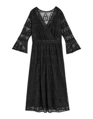Romantic Lace V-Neck 3/4 Sleeve Maxi Dress