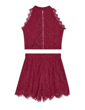 Eyelash Lace Halter Top & Shorts Set Wear